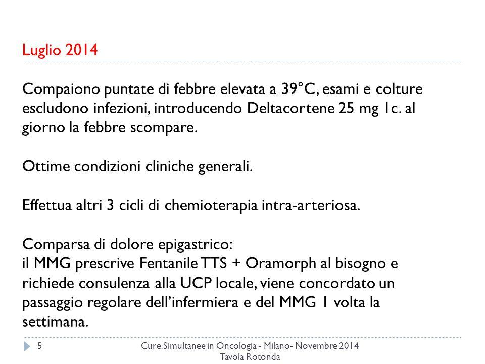 Cure Simultanee in Oncologia - Milano- Novembre 2014 Tavola Rotonda 5 Luglio 2014 Compaiono puntate di febbre elevata a 39°C, esami e colture escludono infezioni, introducendo Deltacortene 25 mg 1c.