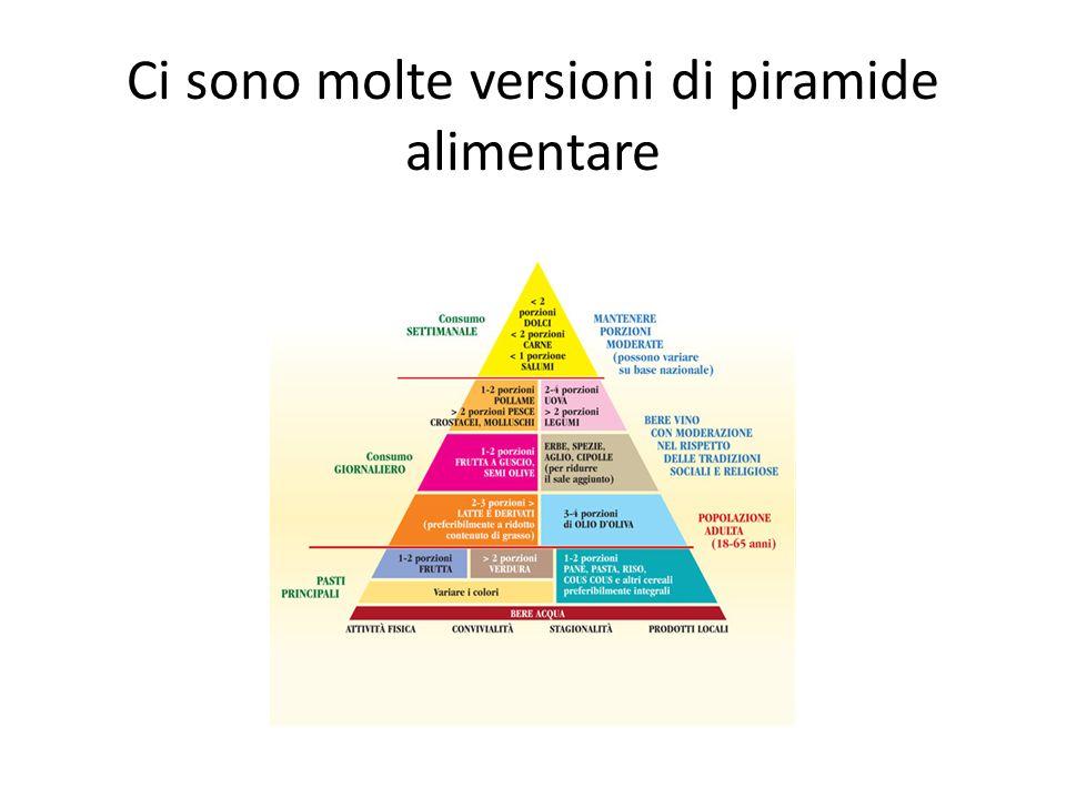 Ci sono molte versioni di piramide alimentare