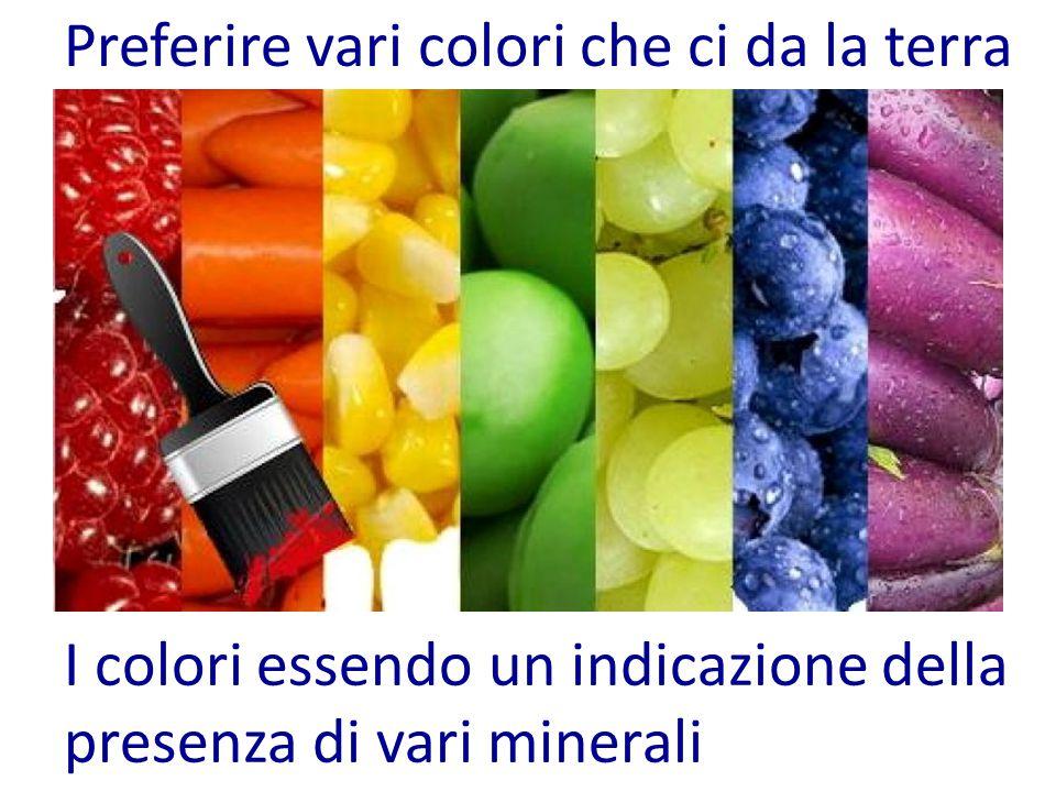 Preferire vari colori che ci da la terra I colori essendo un indicazione della presenza di vari minerali