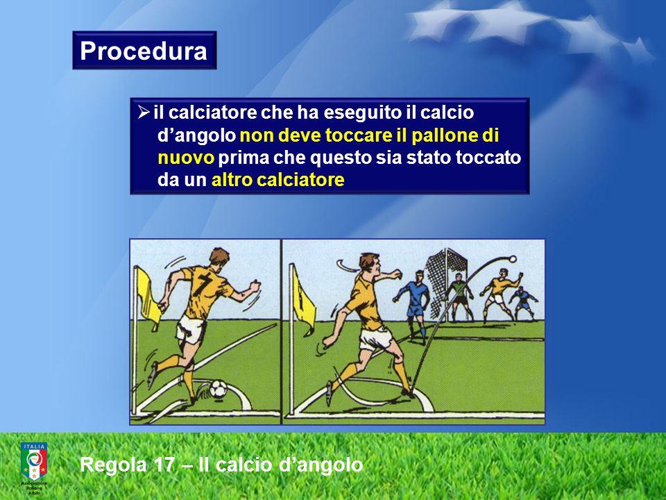 Regola 17 – Il calcio d'angolo Non regolare Regolare Posizioni corrette e non del pallone nell'area d'angolo durante l'effettuazione del calcio d'angolo Procedura
