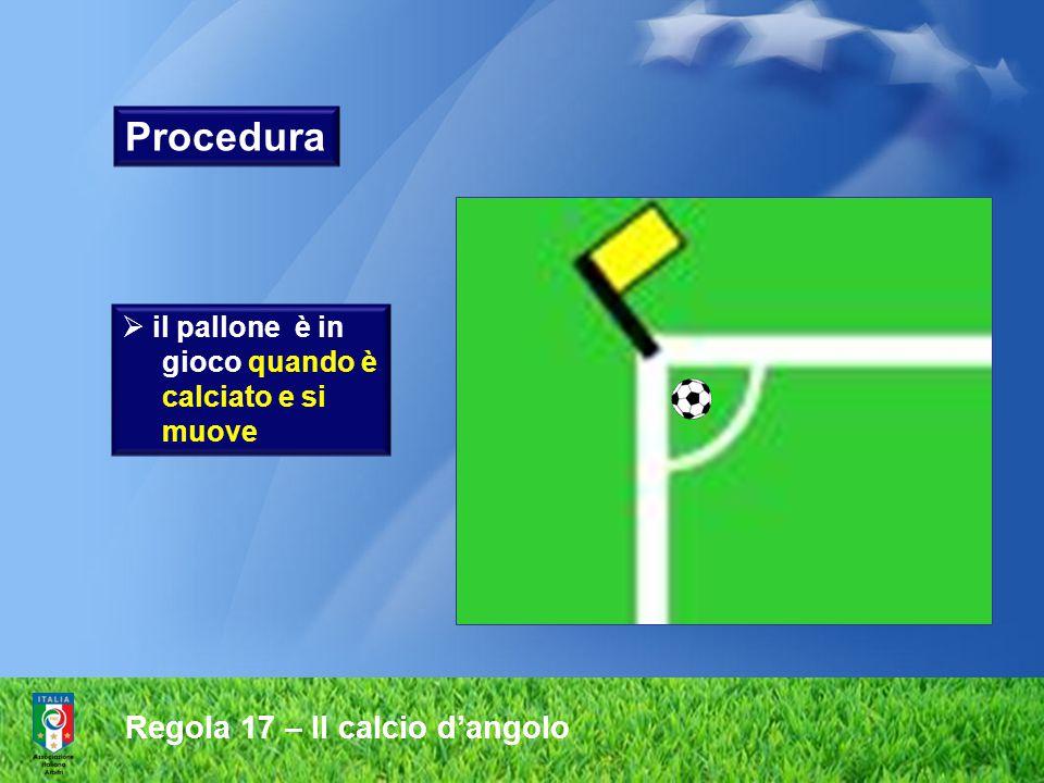 Regola 17 – Il calcio d'angolo  il calciatore che ha eseguito il calcio d'angolo non deve toccare il pallone di nuovo prima che questo sia stato toccato da un altro calciatore Procedura
