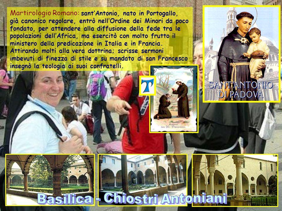 Sant'Antonio di Padova Sacerdote e dottore della Chiesa - Lisbona, Portogallo, c. 1195 - Padova, 13 giugno 1231 Patronato: Affamati, oggetti smarriti,