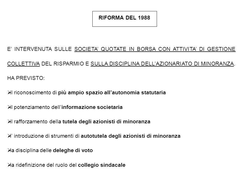 RIFORMA DEL 2003 E' INTERVENUTA SULLA DISCIPLINA DELLE SOCIETA' PER AZIONI NON QUOTATE E DELLE ALTRE SOCIETA' DI CAPITALI.