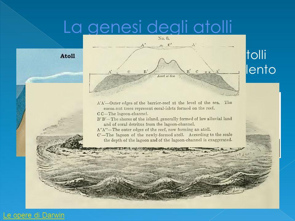  Darwin spiega la formazione degli atolli ipotizzando la presenza di in isola in lento spofondamento  Dapprima i coralli formano una scogliera  Poi si passa allo stadio di isola con laguna e barriera corallina  Infine l'isola risulta completamente sommersa ma i coralli continuano a circondarla formando un atollo Le opere di Darwin