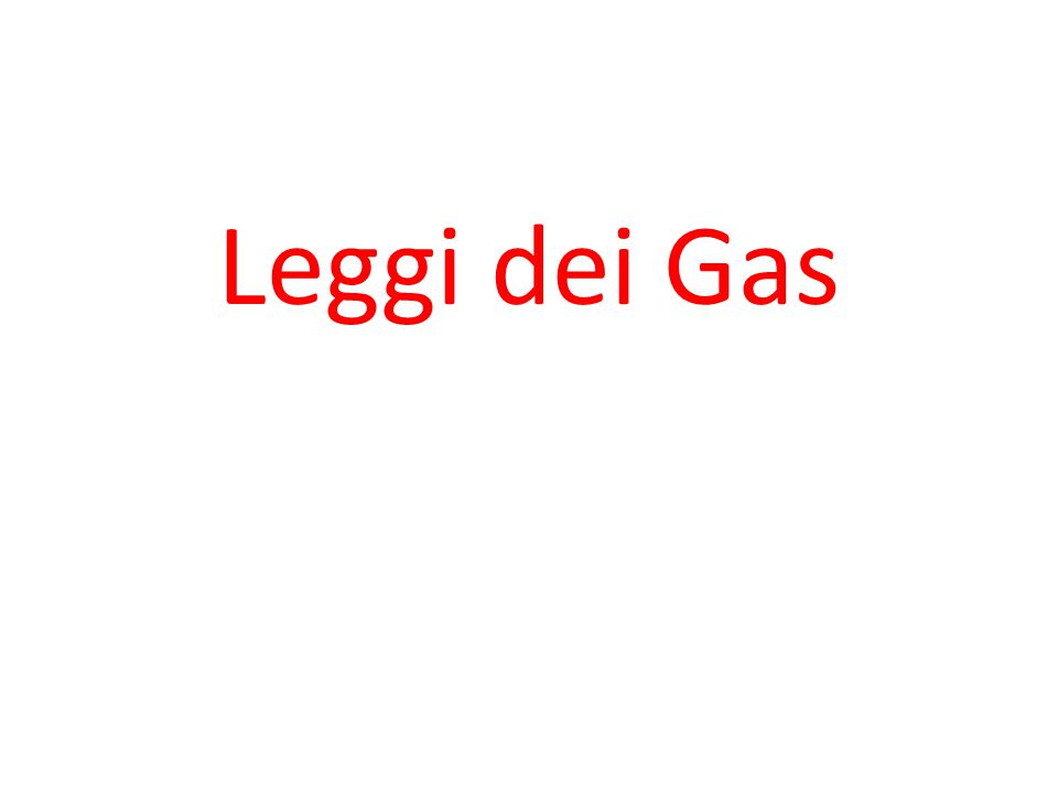 Leggi dei Gas