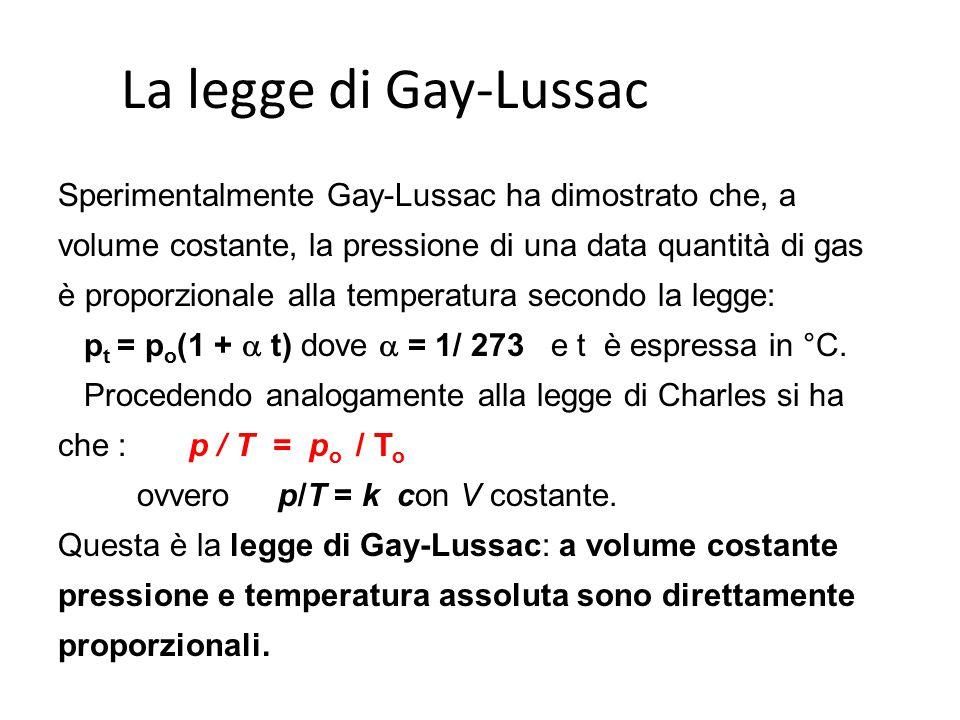 La legge di Gay-Lussac Sperimentalmente Gay-Lussac ha dimostrato che, a volume costante, la pressione di una data quantità di gas è proporzionale alla