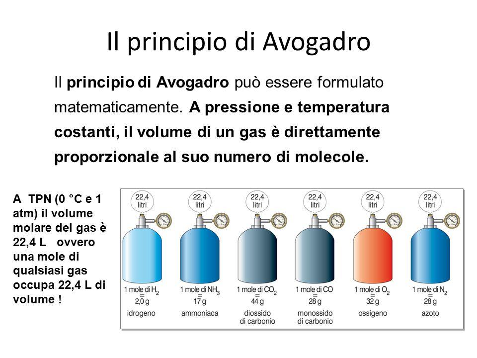 Il principio di Avogadro può essere formulato matematicamente. A pressione e temperatura costanti, il volume di un gas è direttamente proporzionale al