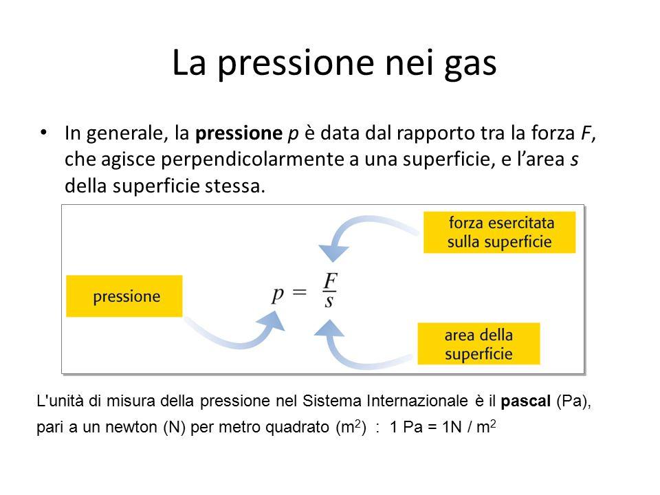 In generale, la pressione p è data dal rapporto tra la forza F, che agisce perpendicolarmente a una superficie, e l'area s della superficie stessa. La