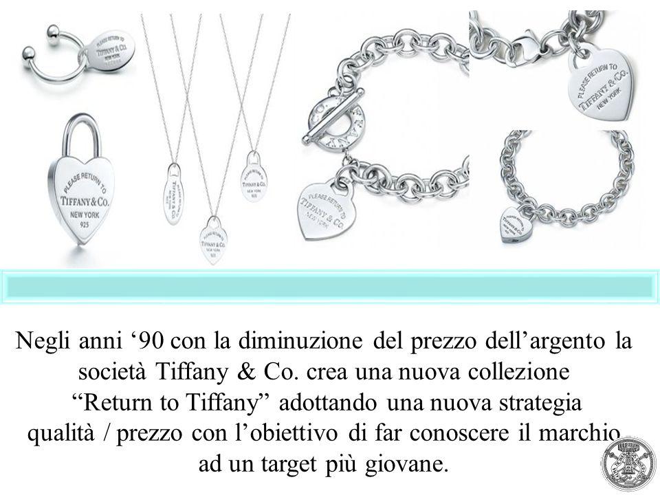 """Negli anni '90 con la diminuzione del prezzo dell'argento la società Tiffany & Co. crea una nuova collezione """"Return to Tiffany"""" adottando una nuova s"""