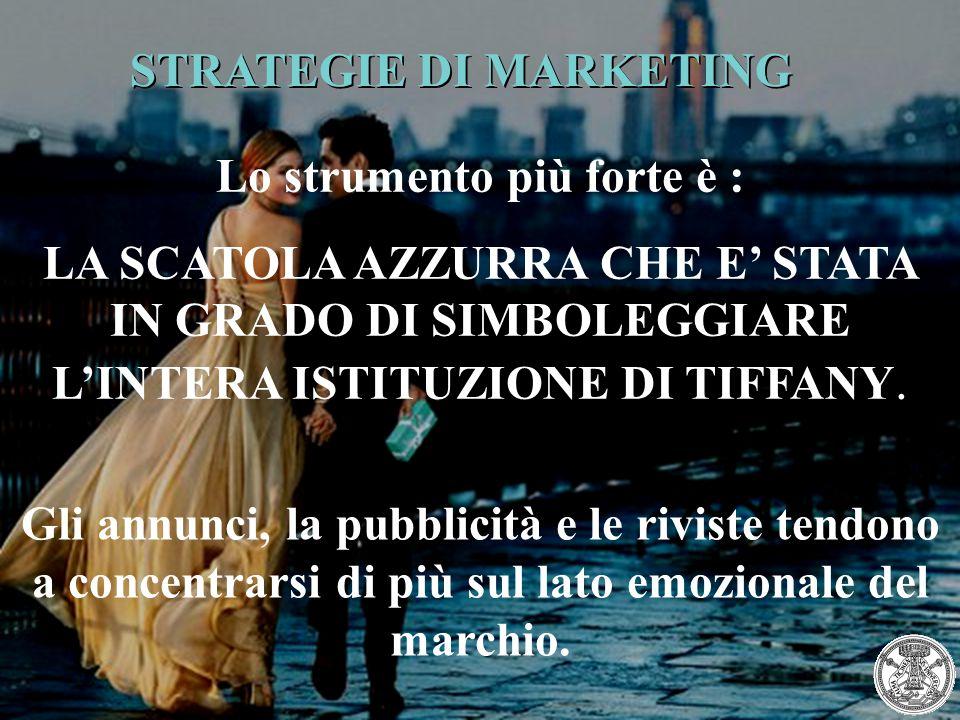 STRATEGIE DI MARKETING Lo strumento più forte è : LA SCATOLA AZZURRA CHE E' STATA IN GRADO DI SIMBOLEGGIARE L'INTERA ISTITUZIONE DI TIFFANY. Gli annun