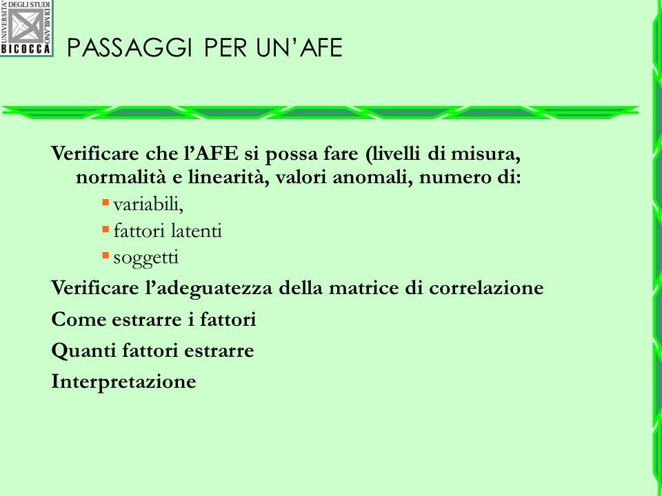 PASSAGGI PER UN'AFE Verificare che l'AFE si possa fare (livelli di misura, normalità e linearità, valori anomali, numero di:  variabili,  fattori la