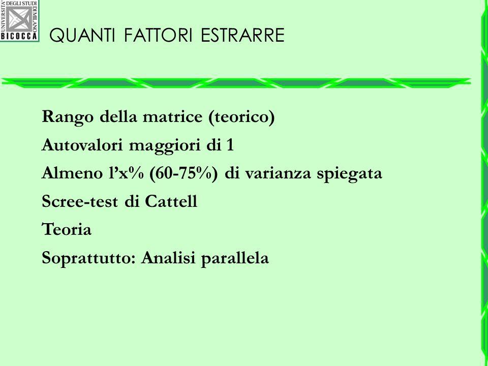 QUANTI FATTORI ESTRARRE Rango della matrice (teorico) Autovalori maggiori di 1 Almeno l'x% (60-75%) di varianza spiegata Scree-test di Cattell Teoria
