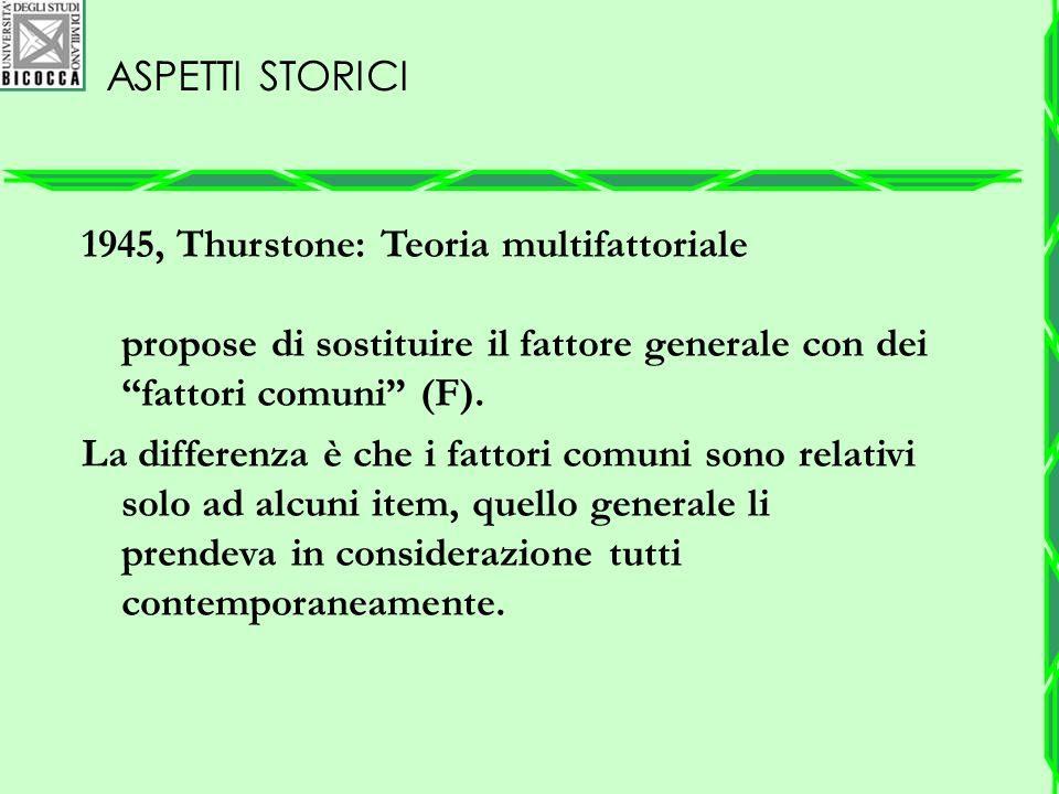 """ASPETTI STORICI 1945, Thurstone: Teoria multifattoriale propose di sostituire il fattore generale con dei """"fattori comuni"""" (F). La differenza è che i"""