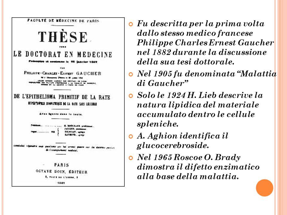 Fu descritta per la prima volta dallo stesso medico francese Philippe Charles Ernest Gaucher nel 1882 durante la discussione della sua tesi dottorale.