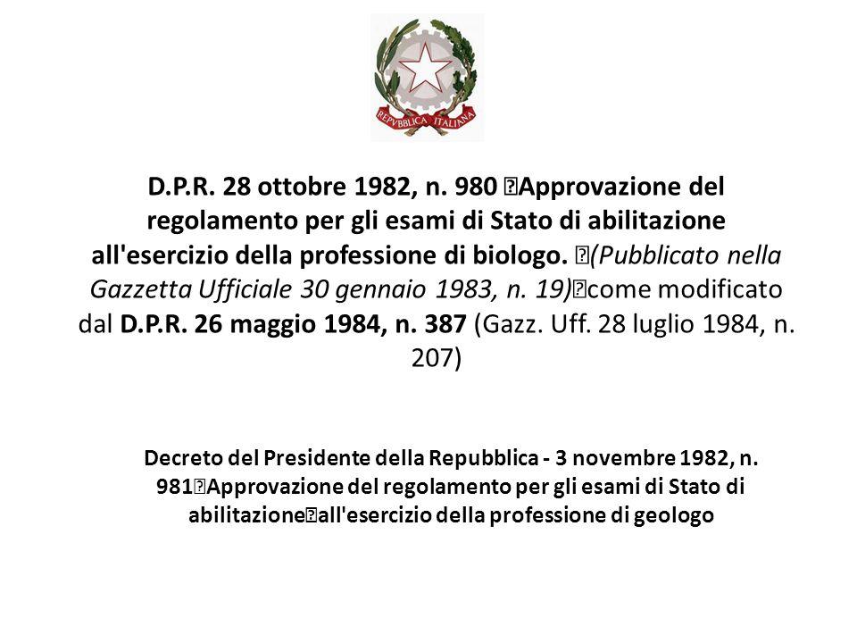 Decreto del Presidente della Repubblica - 3 novembre 1982, n.