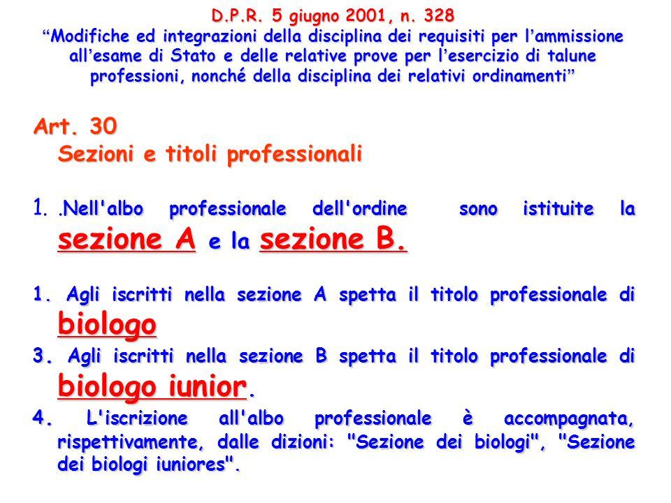 Art. 30 Sezioni e titoli professionali Nell'albo professionale dell'ordine sono istituite la sezione A e la sezione B. 1.. Nell'albo professionale del