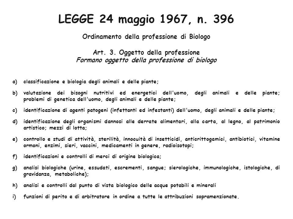 LEGGE 24 maggio 1967, n.396 Ordinamento della professione di Biologo Art.