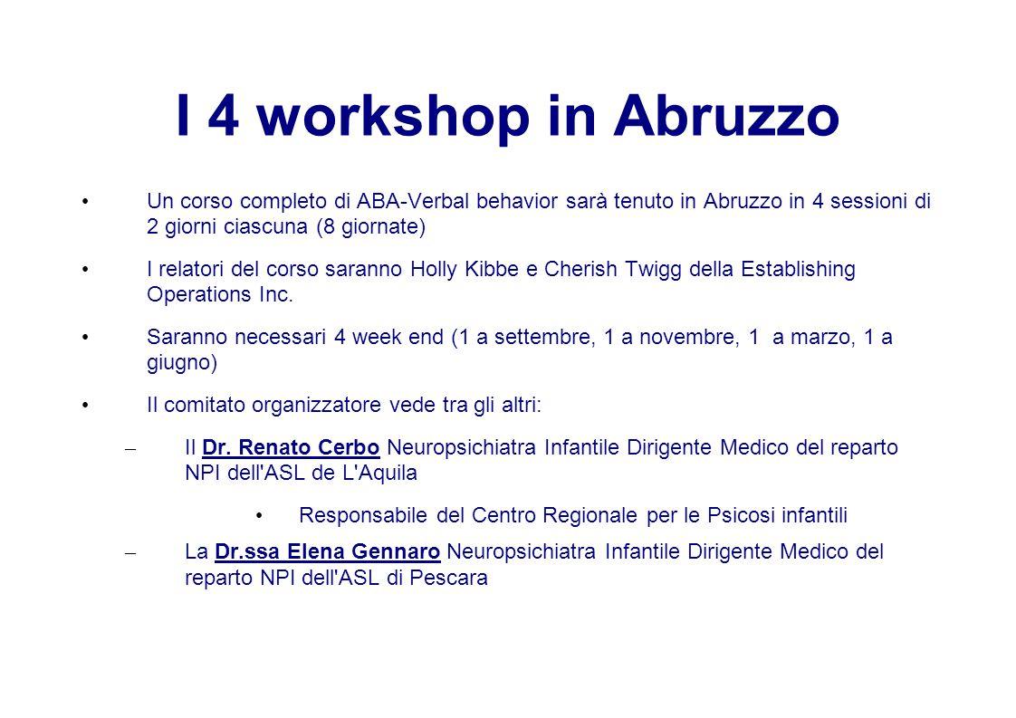 I 4 workshop in Abruzzo Un corso completo di ABA-Verbal behavior sarà tenuto in Abruzzo in 4 sessioni di 2 giorni ciascuna (8 giornate) I relatori del corso saranno Holly Kibbe e Cherish Twigg della Establishing Operations Inc.
