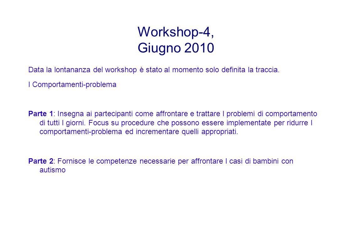 Workshop-4, Giugno 2010 Data la lontananza del workshop è stato al momento solo definita la traccia.