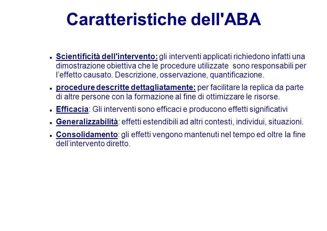 Caratteristiche dell ABA Scientificità dell intervento: gli interventi applicati richiedono infatti una dimostrazione obiettiva che le procedure utilizzate sono responsabili per l'effetto causato.