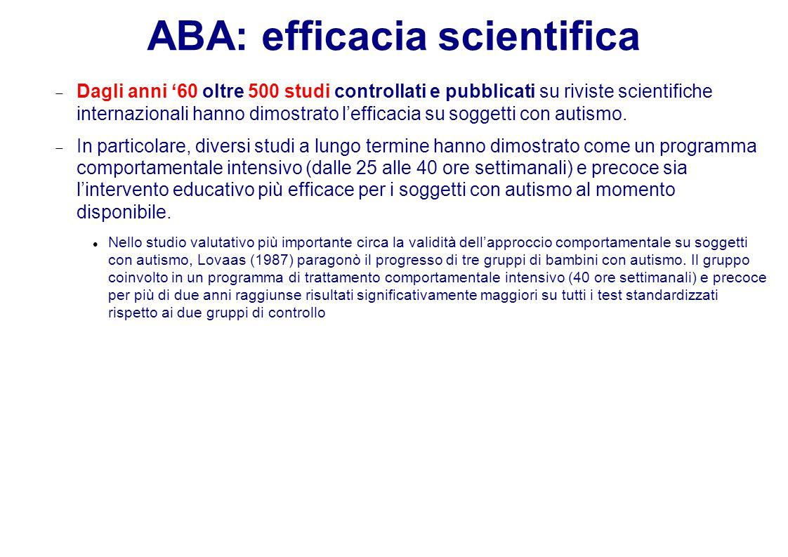 ABA: efficacia scientifica  Dagli anni '60 oltre 500 studi controllati e pubblicati su riviste scientifiche internazionali hanno dimostrato l'efficacia su soggetti con autismo.