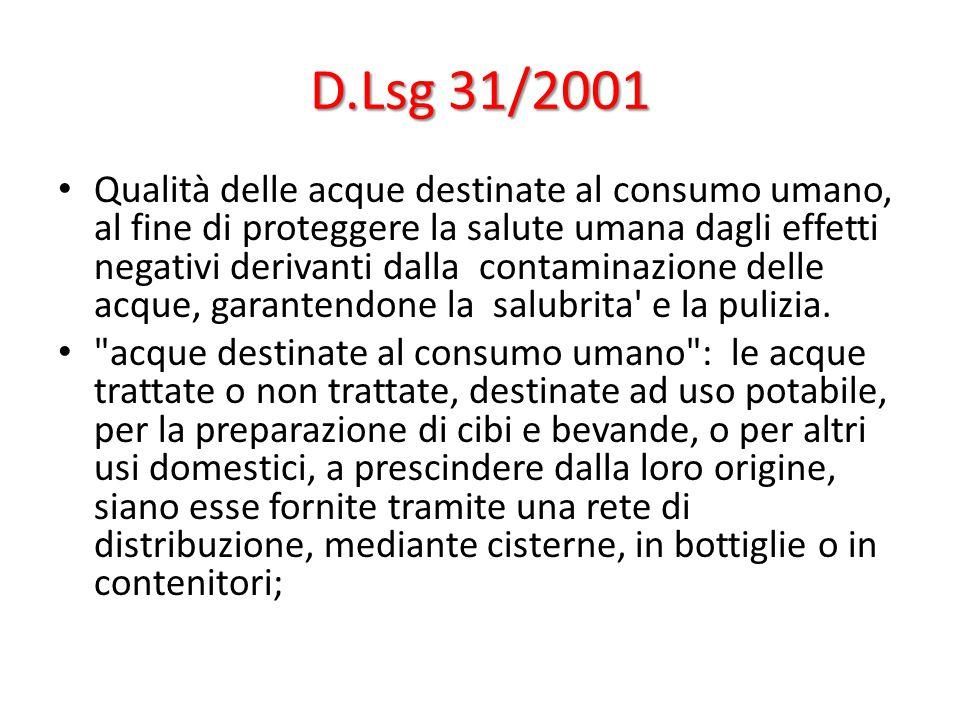 D.Lsg 31/2001 Qualità delle acque destinate al consumo umano, al fine di proteggere la salute umana dagli effetti negativi derivanti dalla contaminazione delle acque, garantendone la salubrita e la pulizia.