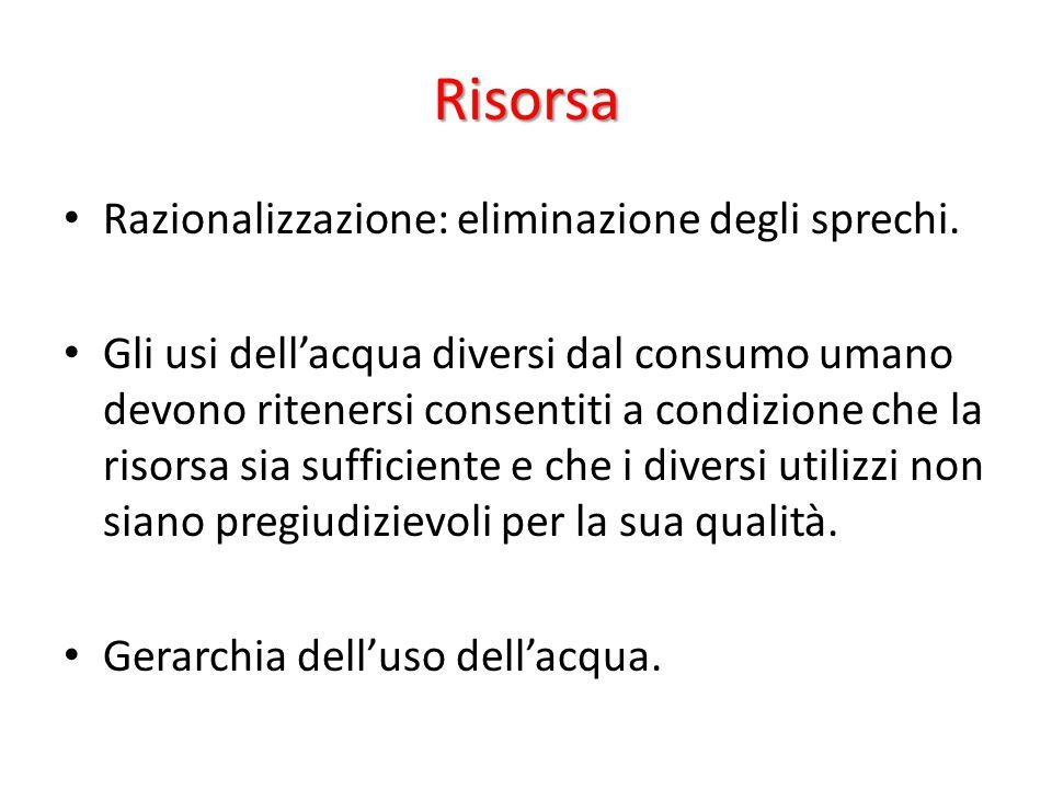 Risorsa Razionalizzazione: eliminazione degli sprechi.
