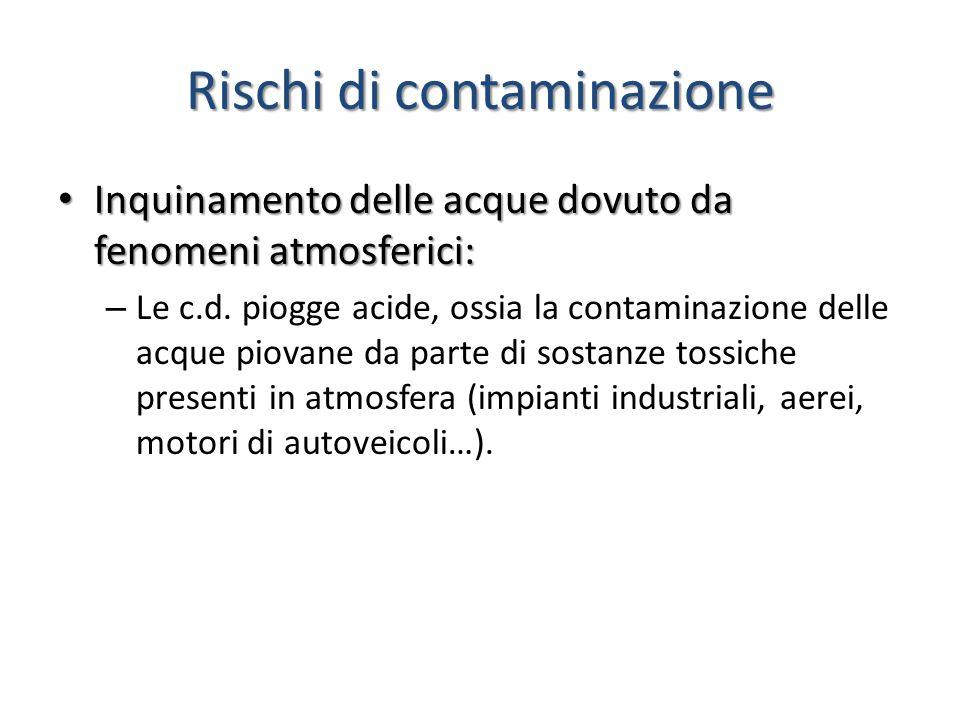 Rischi di contaminazione Inquinamento delle acque dovuto da fenomeni atmosferici: Inquinamento delle acque dovuto da fenomeni atmosferici: – Le c.d.