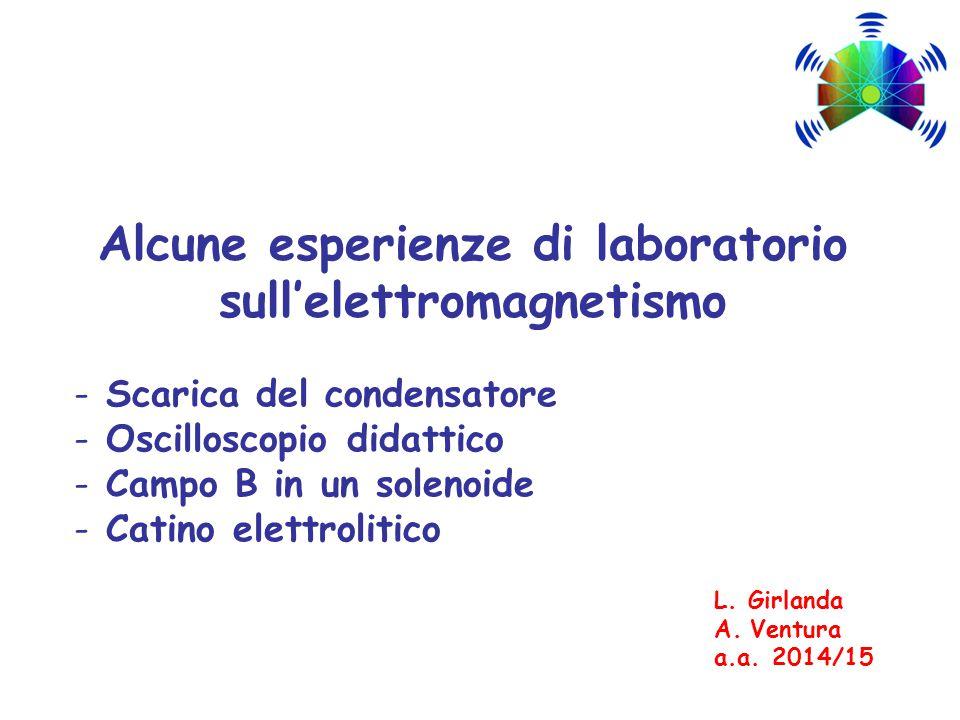 Alcune esperienze di laboratorio sull'elettromagnetismo - Scarica del condensatore - Oscilloscopio didattico - Campo B in un solenoide - Catino elettr