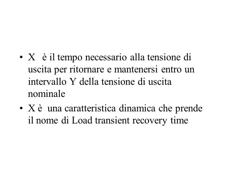 Xè il tempo necessario alla tensione di uscita per ritornare e mantenersi entro un intervallo Y della tensione di uscita nominale X è una caratteristica dinamica che prende il nome di Load transient recovery time