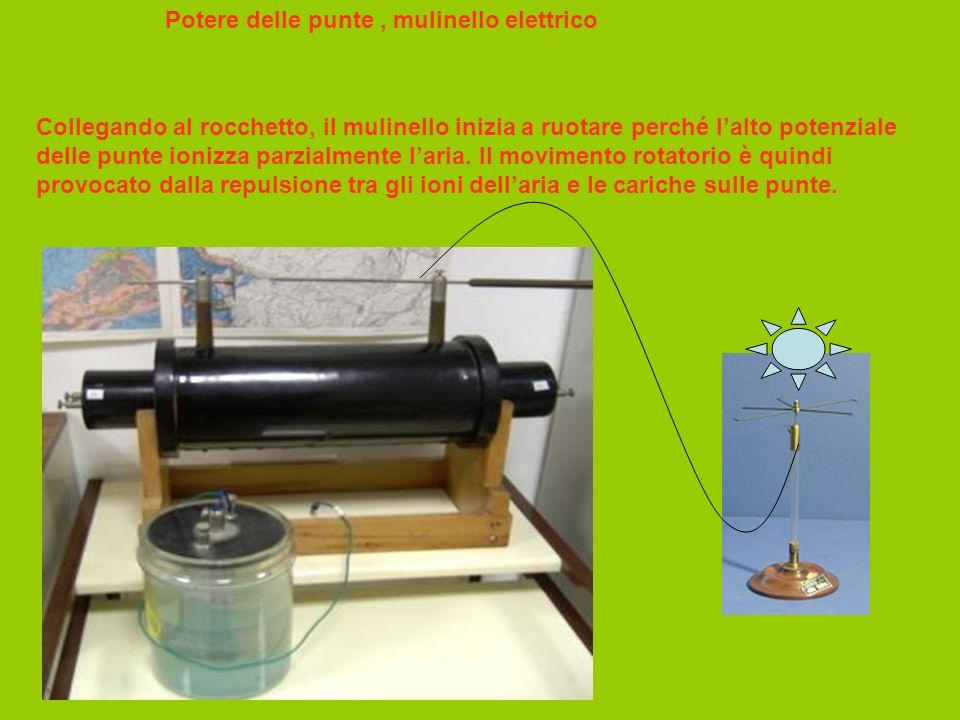 Potere delle punte, mulinello elettrico Collegando al rocchetto, il mulinello inizia a ruotare perché l'alto potenziale delle punte ionizza parzialmen