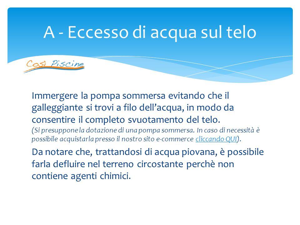 (Si presuppone la dotazione di una pompa sommersa) Sollevare il telo in prossimità di un angolo della piscina e immergere la pompa sommersa.
