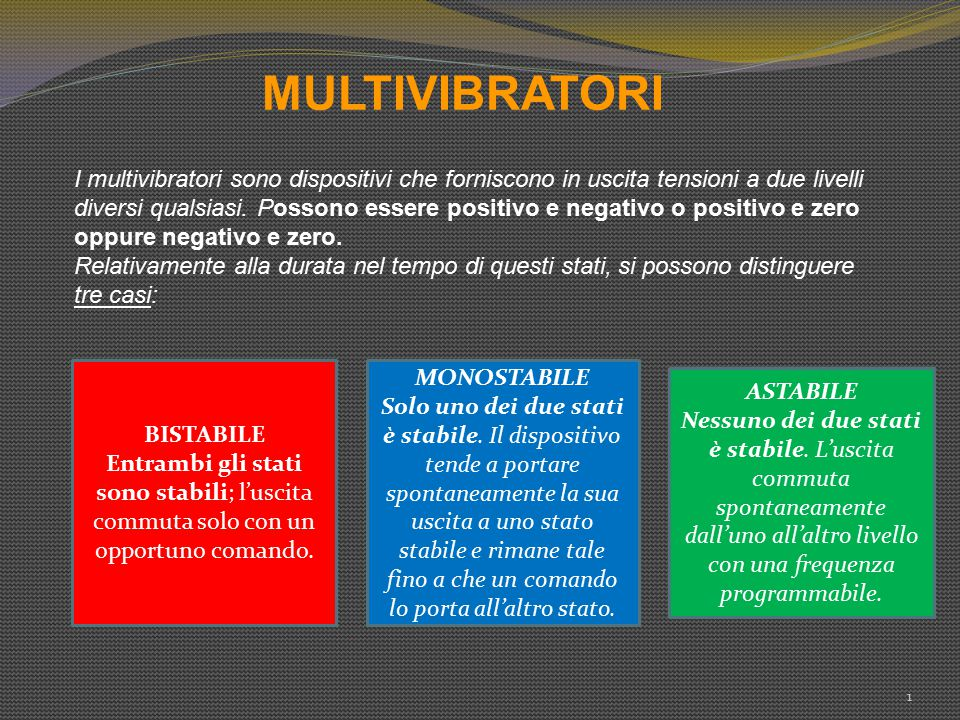 MULTIVIBRATORI 1 I multivibratori sono dispositivi che forniscono in uscita tensioni a due livelli diversi qualsiasi. Possono essere positivo e negati