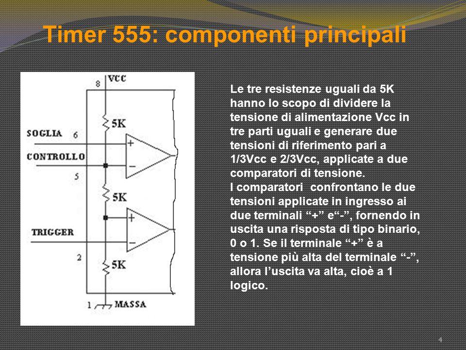 Timer 555: componenti principali 5 Le uscite dei due comparatori sono applicate ad un flip-flop di tipo S-R.