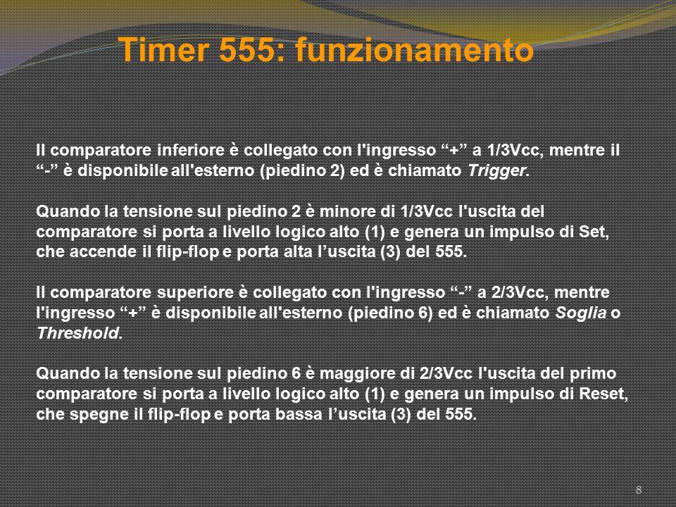 """Timer 555: funzionamento 8 Il comparatore inferiore è collegato con l'ingresso """"+"""" a 1/3Vcc, mentre il """"-"""" è disponibile all'esterno (piedino 2) ed è"""