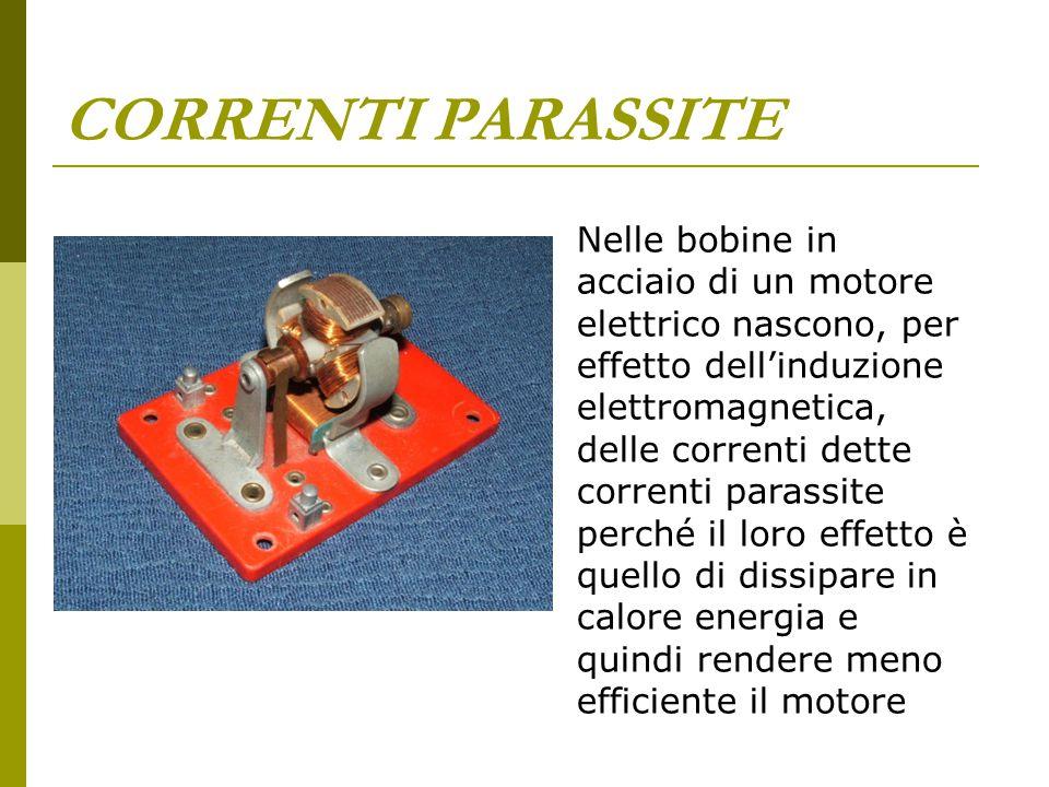 CORRENTI PARASSITE Nelle bobine in acciaio di un motore elettrico nascono, per effetto dell'induzione elettromagnetica, delle correnti dette correnti