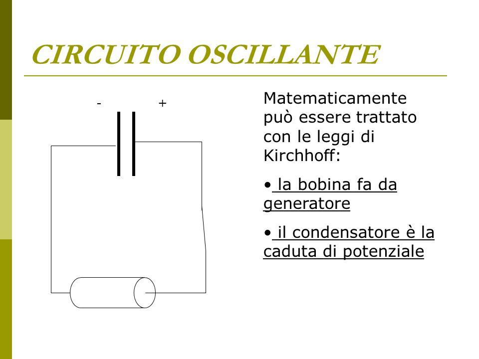 CIRCUITO OSCILLANTE Matematicamente può essere trattato con le leggi di Kirchhoff: la bobina fa da generatore il condensatore è la caduta di potenzial