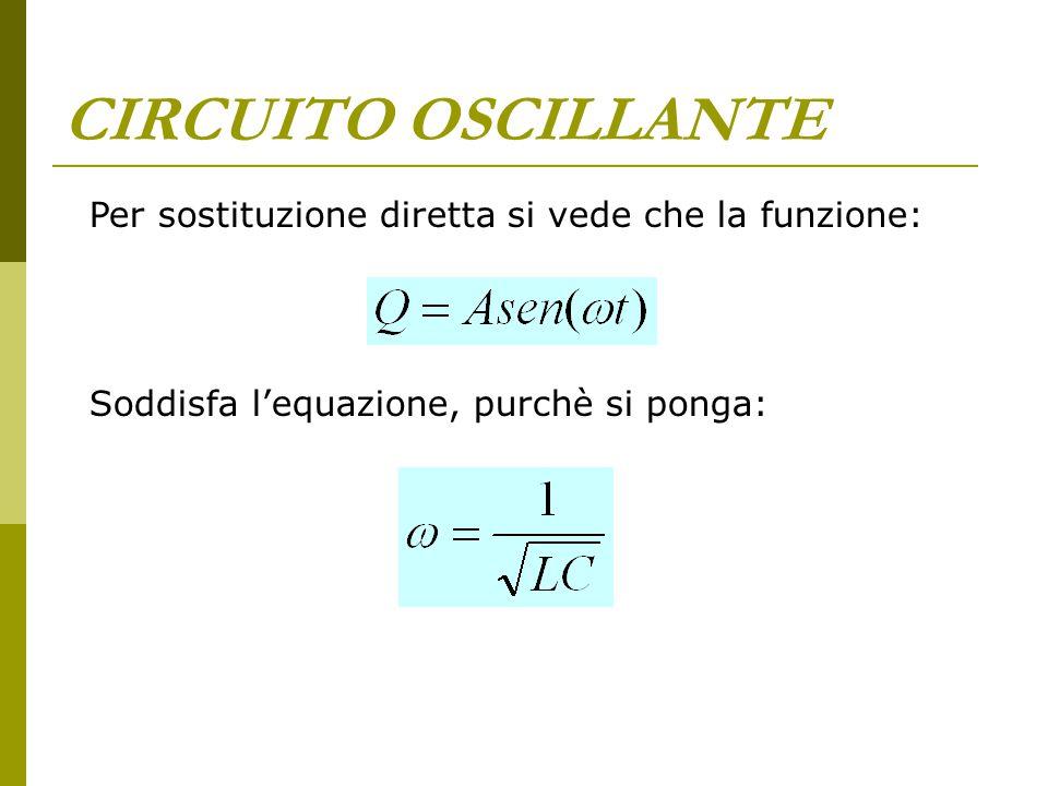 CIRCUITO OSCILLANTE Per sostituzione diretta si vede che la funzione: Soddisfa l'equazione, purchè si ponga: