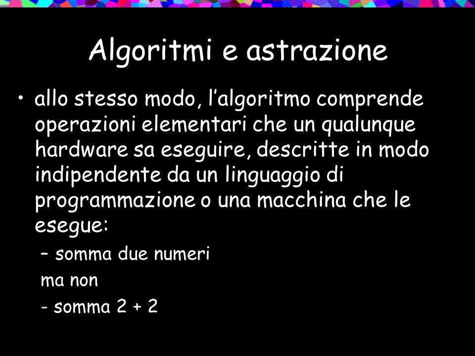 Algoritmi e astrazione allo stesso modo, l'algoritmo comprende operazioni elementari che un qualunque hardware sa eseguire, descritte in modo indipendente da un linguaggio di programmazione o una macchina che le esegue: –somma due numeri ma non - somma 2 + 2