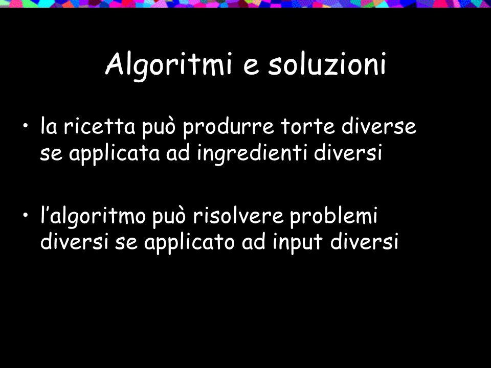 Algoritmi e soluzioni la ricetta può produrre torte diverse se applicata ad ingredienti diversi l'algoritmo può risolvere problemi diversi se applicato ad input diversi