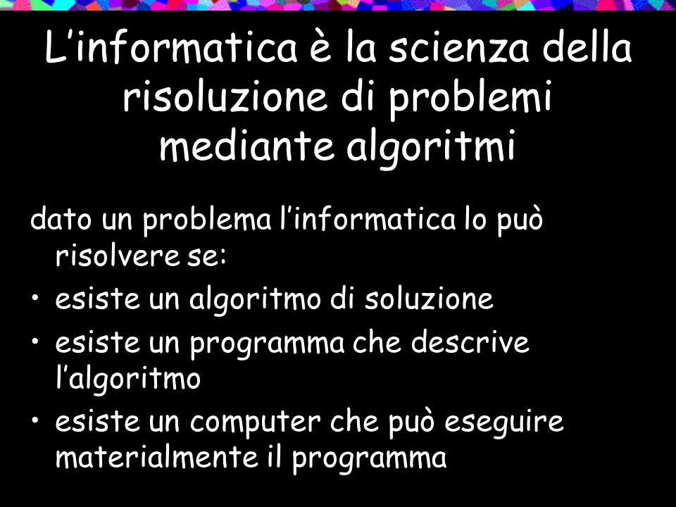 L'informatica è la scienza della risoluzione di problemi mediante algoritmi dato un problema l'informatica lo può risolvere se: esiste un algoritmo di soluzione esiste un programma che descrive l'algoritmo esiste un computer che può eseguire materialmente il programma