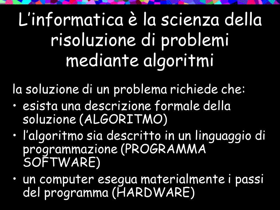 L'informatica è la scienza della risoluzione di problemi mediante algoritmi la soluzione di un problema richiede che: esista una descrizione formale della soluzione (ALGORITMO) l'algoritmo sia descritto in un linguaggio di programmazione (PROGRAMMA SOFTWARE) un computer esegua materialmente i passi del programma (HARDWARE)