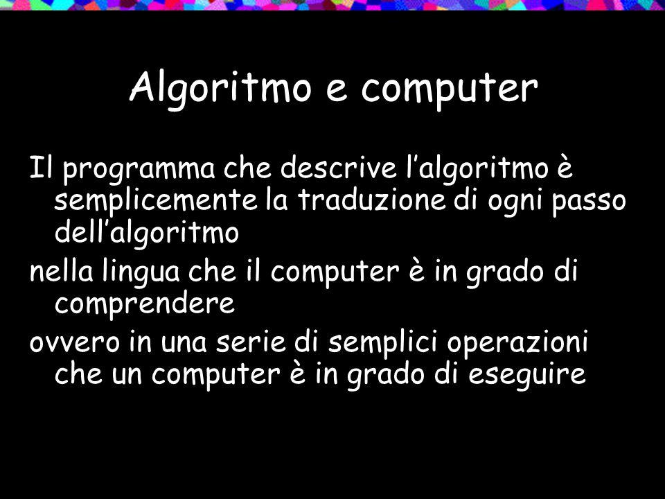 Algoritmo e computer Il programma che descrive l'algoritmo è semplicemente la traduzione di ogni passo dell'algoritmo nella lingua che il computer è in grado di comprendere ovvero in una serie di semplici operazioni che un computer è in grado di eseguire