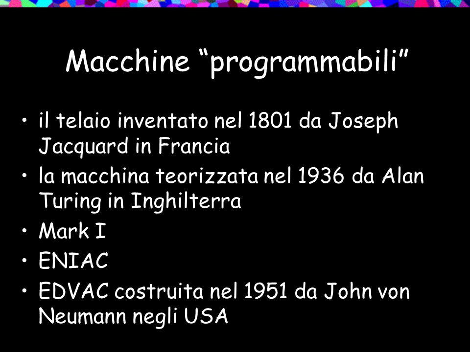 Macchine programmabili il telaio inventato nel 1801 da Joseph Jacquard in Francia la macchina teorizzata nel 1936 da Alan Turing in Inghilterra Mark I ENIAC EDVAC costruita nel 1951 da John von Neumann negli USA
