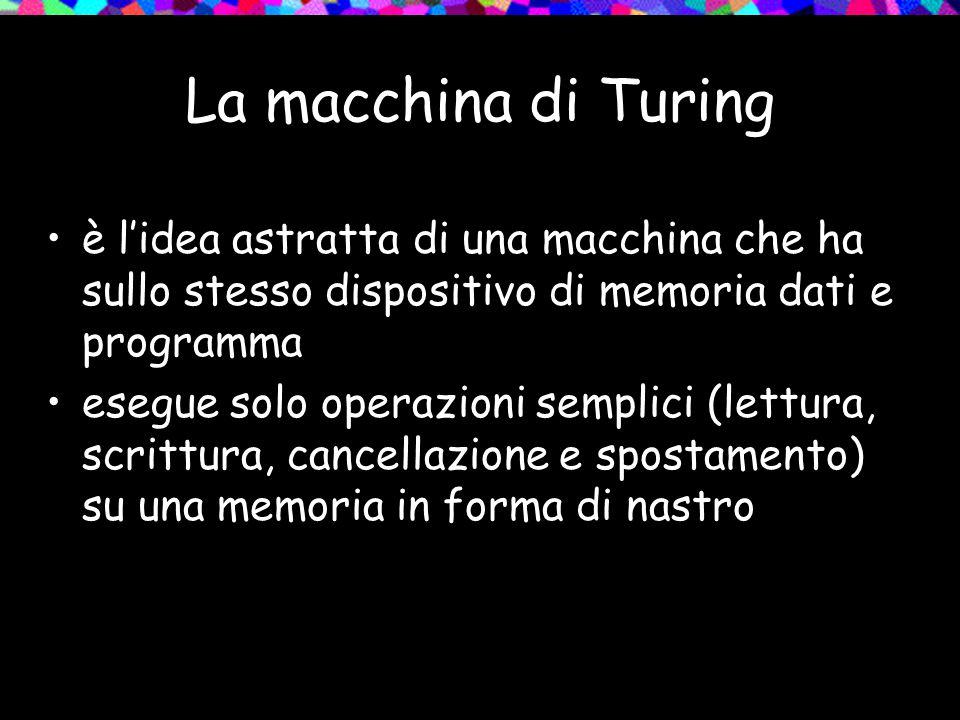 La macchina di Turing è l'idea astratta di una macchina che ha sullo stesso dispositivo di memoria dati e programma esegue solo operazioni semplici (lettura, scrittura, cancellazione e spostamento) su una memoria in forma di nastro