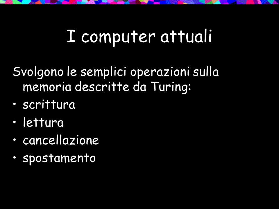 I computer attuali Svolgono le semplici operazioni sulla memoria descritte da Turing: scrittura lettura cancellazione spostamento