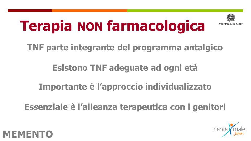  TNF parte integrante del programma antalgico Esistono TNF adeguate ad ogni età Importante è l'approccio individualizzato Essenziale è l'alleanza ter