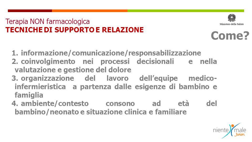 1.informazione/comunicazione/responsabilizzazione 2.coinvolgimento nei processi decisionali e nella valutazione e gestione del dolore 3.organizzazione