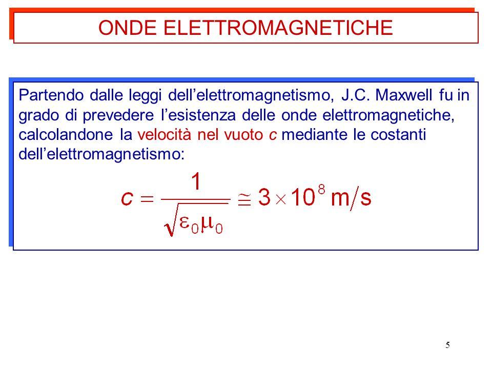 5 Partendo dalle leggi dell'elettromagnetismo, J.C. Maxwell fu in grado di prevedere l'esistenza delle onde elettromagnetiche, calcolandone la velocit