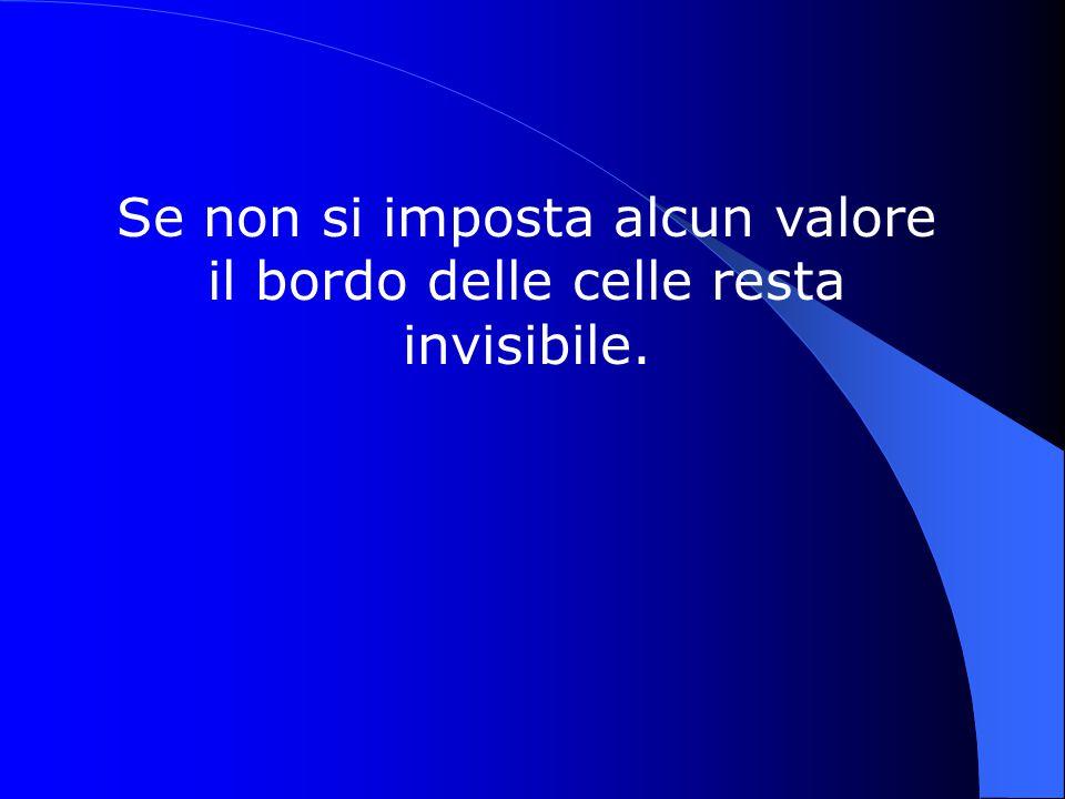 Se non si imposta alcun valore il bordo delle celle resta invisibile.